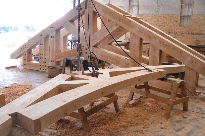 Hidden Connections abound in this complex timber truss