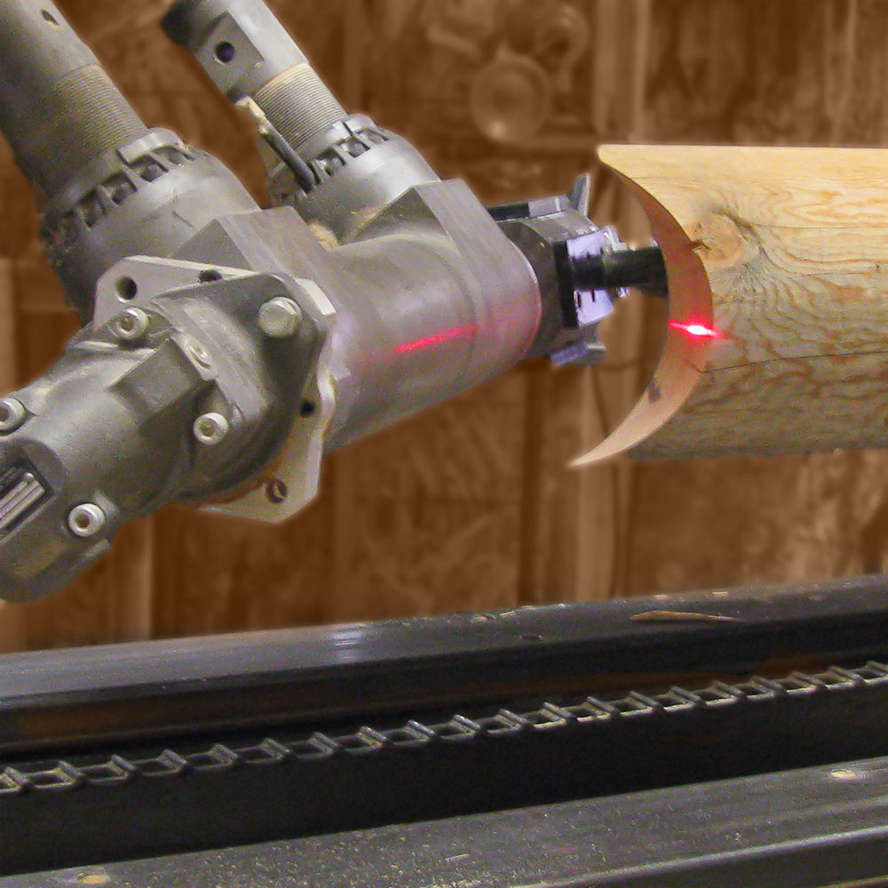 machinery notching a log end
