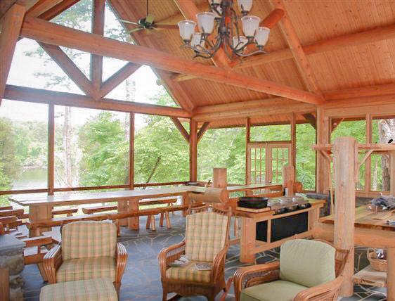 log roof interior of cabin at lake