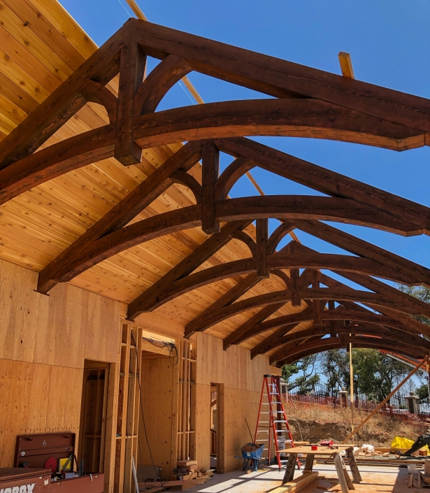 curved truss with tongue in groove ceiling applied