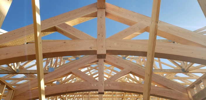 arched trusses close up
